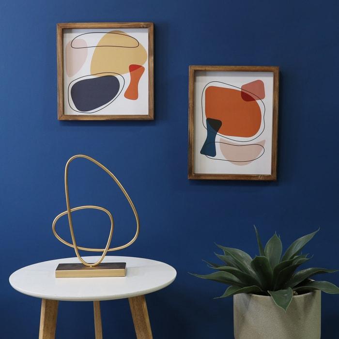 Mid Century Mod Yellow Abstract Framed Wall Decor