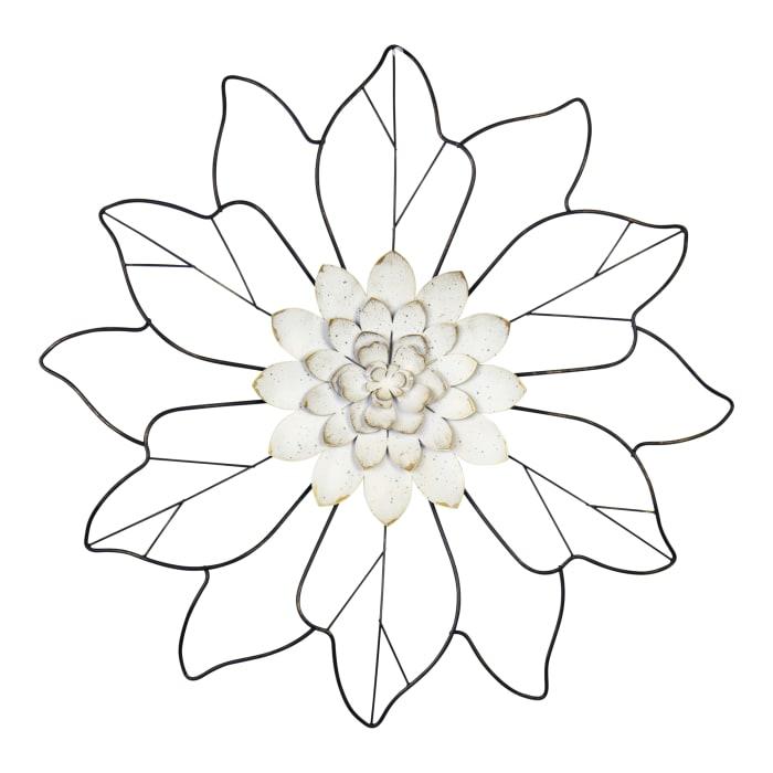 Leaves White Flower Matte Black Wall Decor