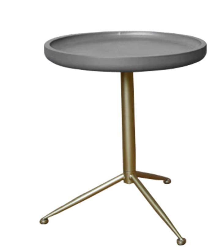 Gray Wood and Gold tone Sleek Round Side Table