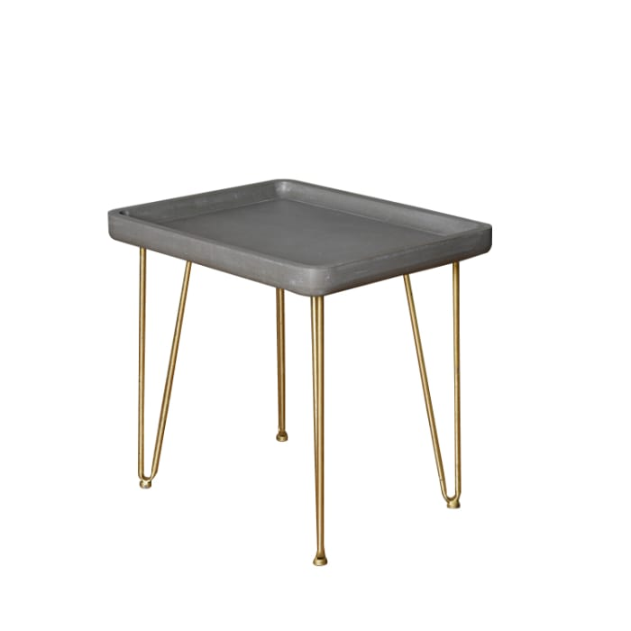 Gray and Gold Contemporary Modern Finish Rectangle End Table