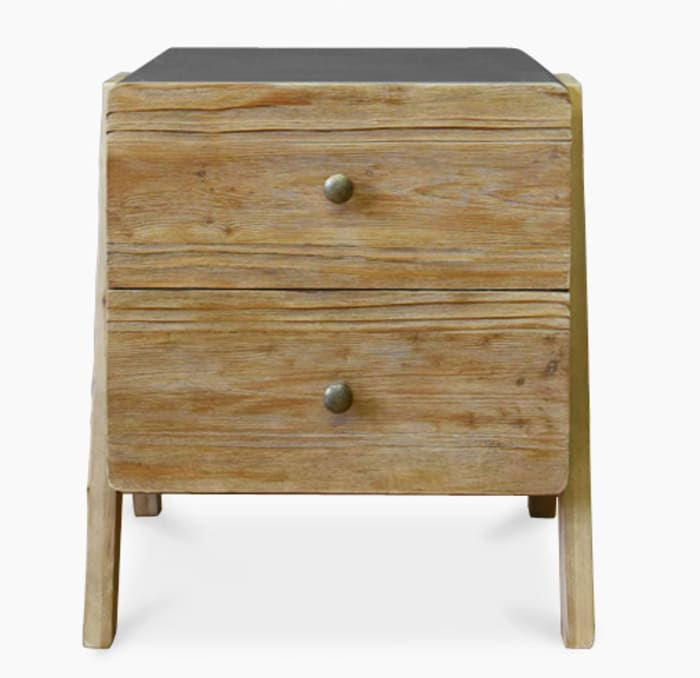 Contemporary Finish 2 Drawer Reclaimed Wood A Shape End Table