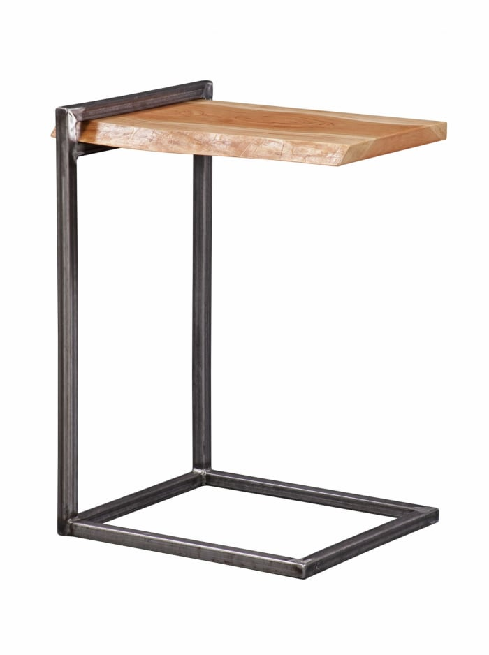 Natural Cherry And Steel Live Edge Side Table