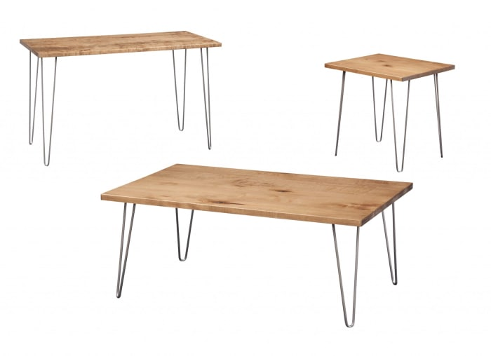 Maple And Stainless Industrial Style Side Table