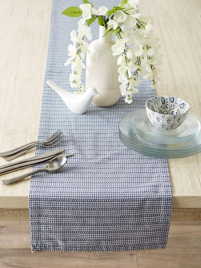 French Blue Farmhouse Gingham Table Runner