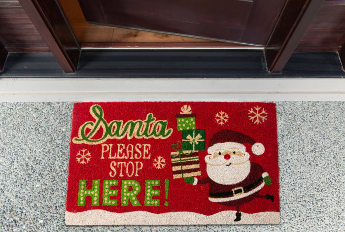 Santa Please Stop Here! Doormat