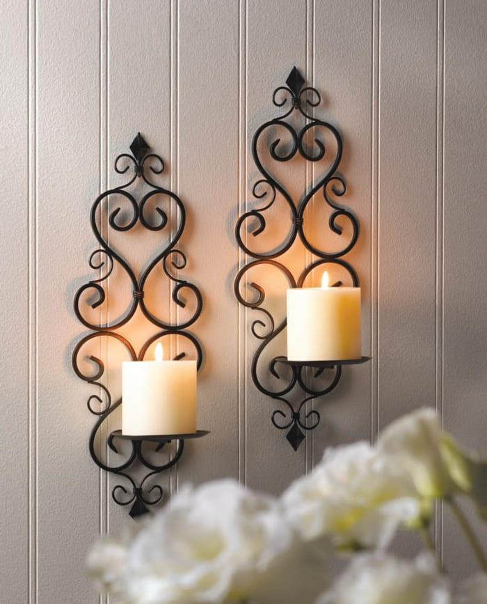 Fleur-De-Lis Candle Wall Sconce (Set of 2)