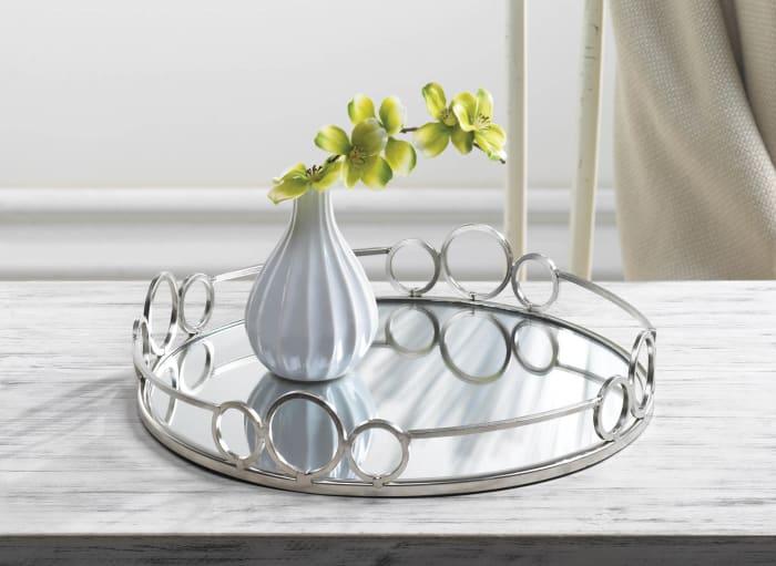Silver Circles Mirrored Tray