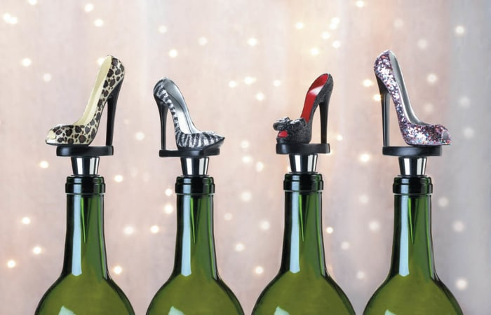 Black Peep Toe Shoe Wine Stopper