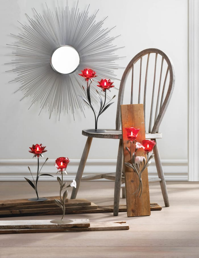 Zingz & Thingz Beautiful Red Flowers Candle Holder