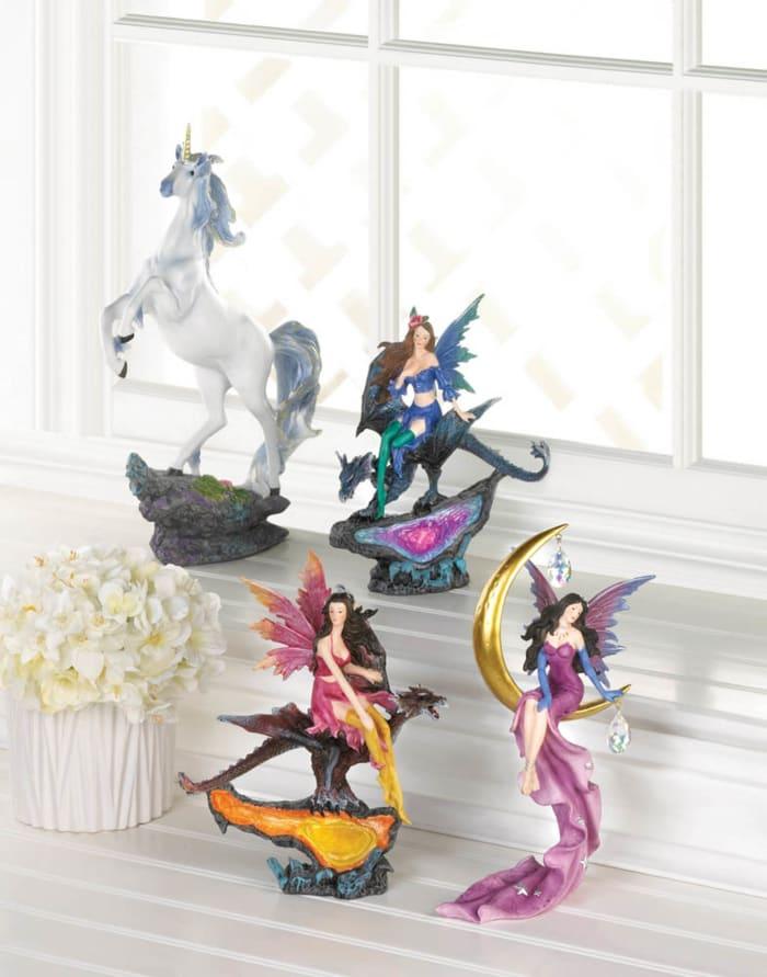 Fairy on Gold Crecent Moon With Crystal Stars Figurine