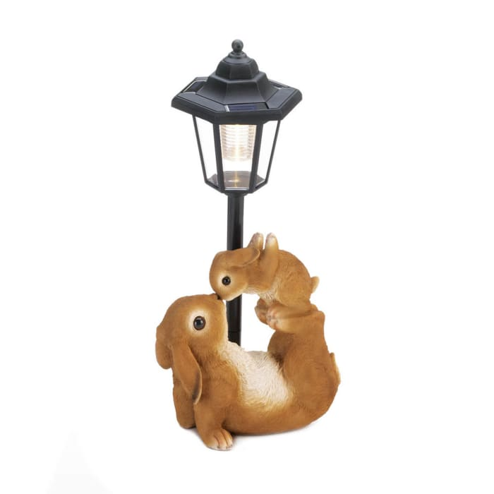 Adorable Mom and Baby Rabbit Solar Figurine