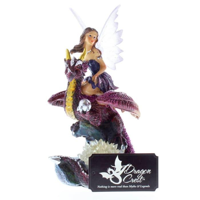 Fairy Riding Dragon Figurine With Light Up Crystals