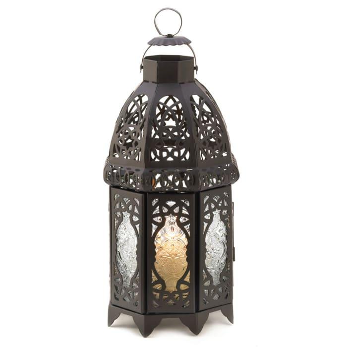 Black Lattice Moroccan Style Hanging Candle Lantern
