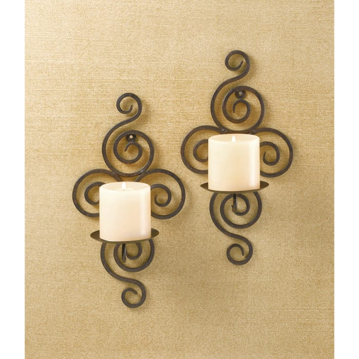 Scrollwork Candle Wall Sconce