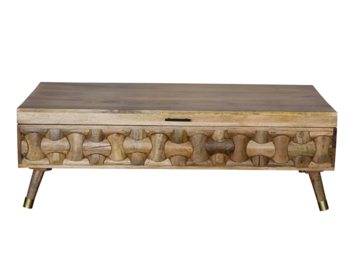 Natural Honey Solid Wood Coffee Table with Storage