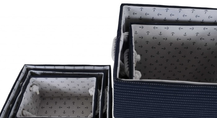 Blue Fabric Decoration Basket With Bow Set of 5