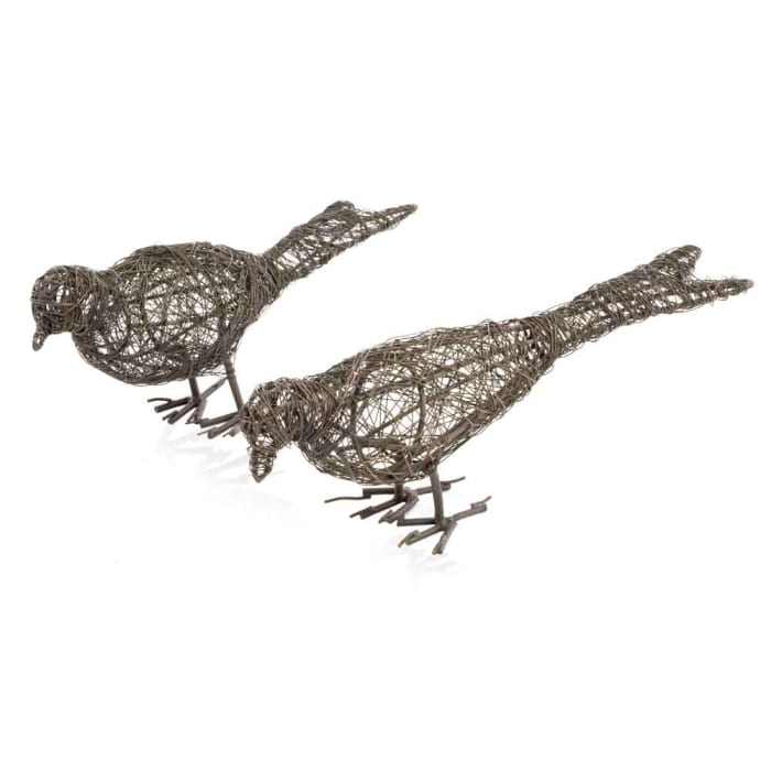 Wire Birds Bronze Finish Set of 2 Accents
