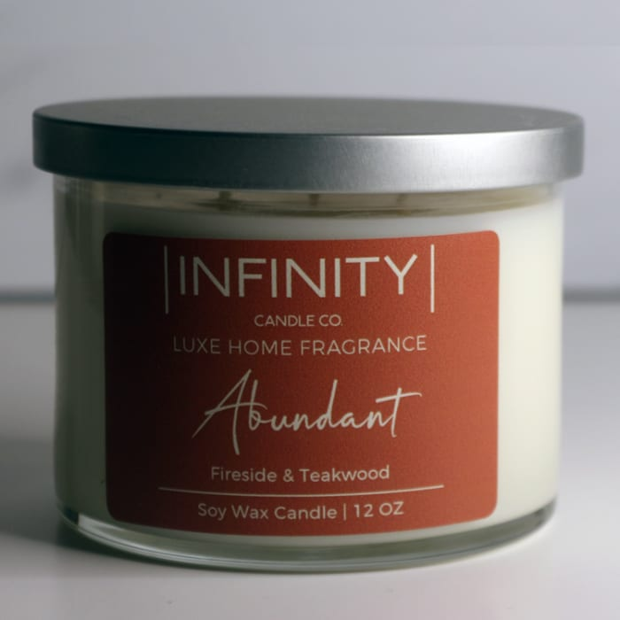 Abundant Fireside & Teakwood Soy Wax Scented Candle