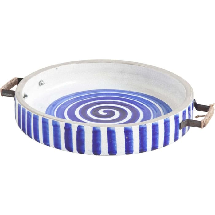 Blue And White Ceramic With Wood And Metal Handles Round Tray