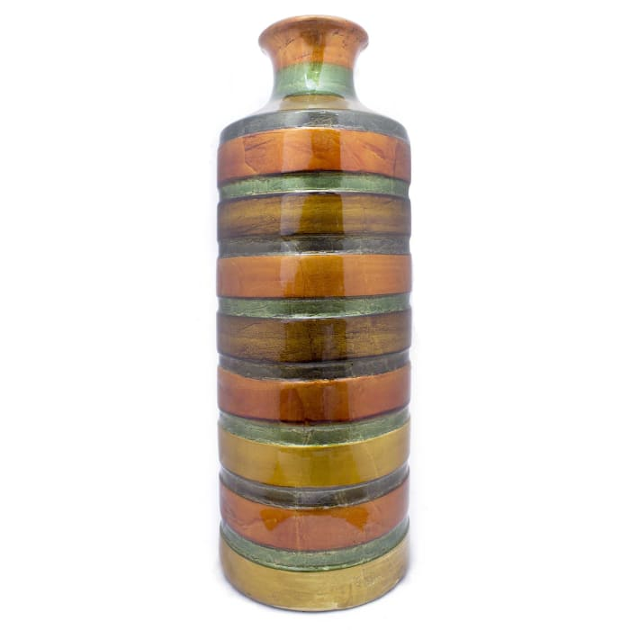 Orange Ceramic Lacquer Strip Cylinder Vase
