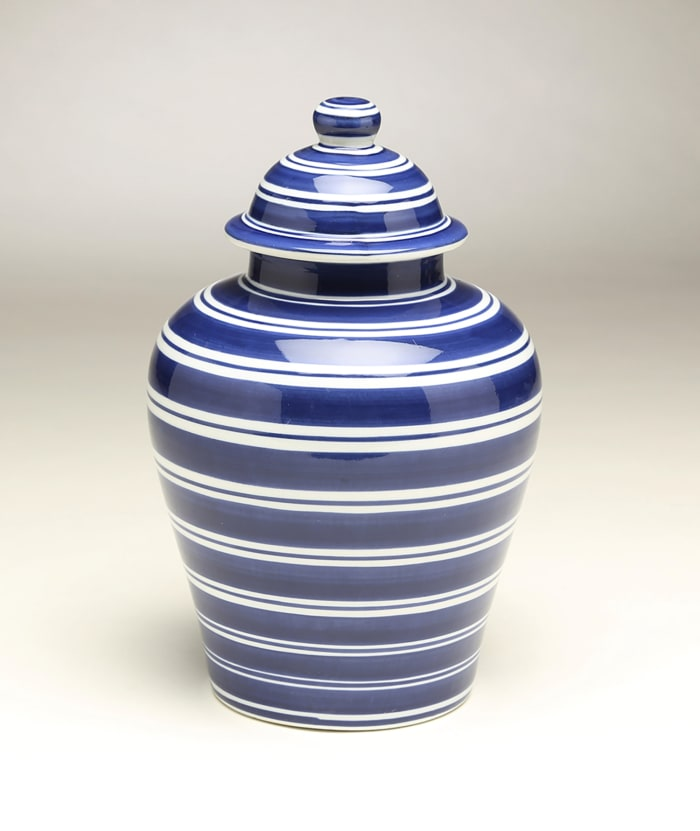 Blue and White Striped Ginger Jar