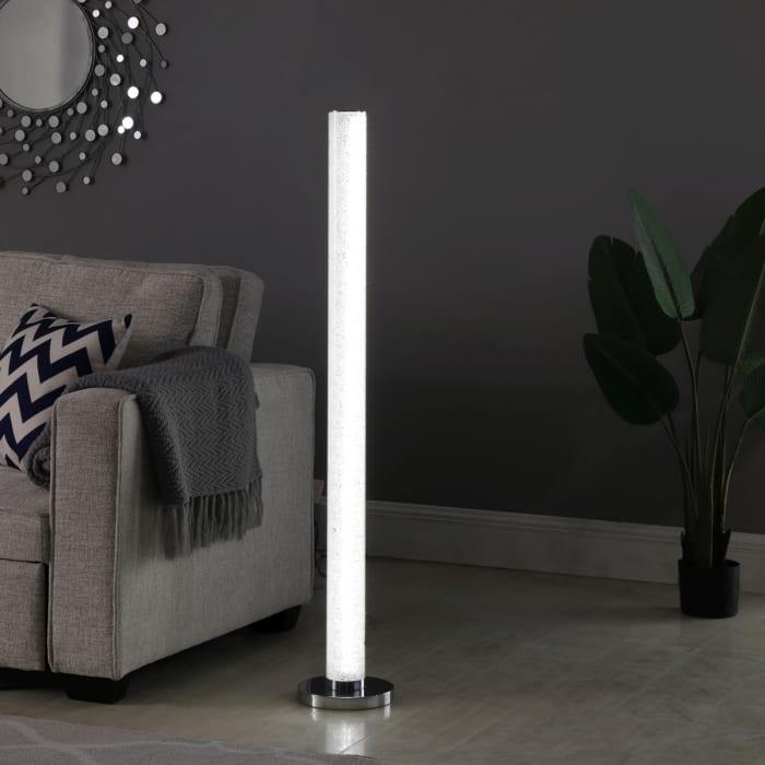 Illuminari White Crystal Sandrocks Column Floor Lamp