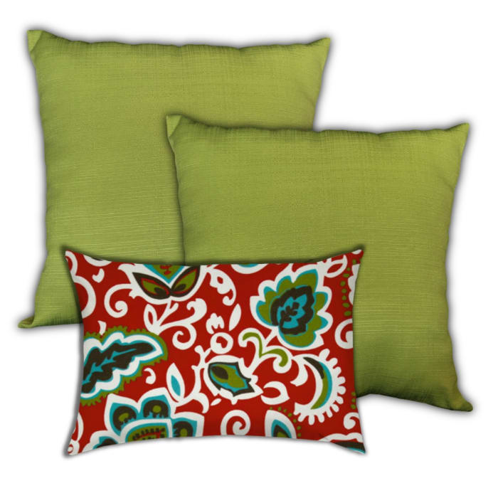 Maui Tropical Forest White, Kiwi And Turquoise Set of 3 Outdoor Pillows