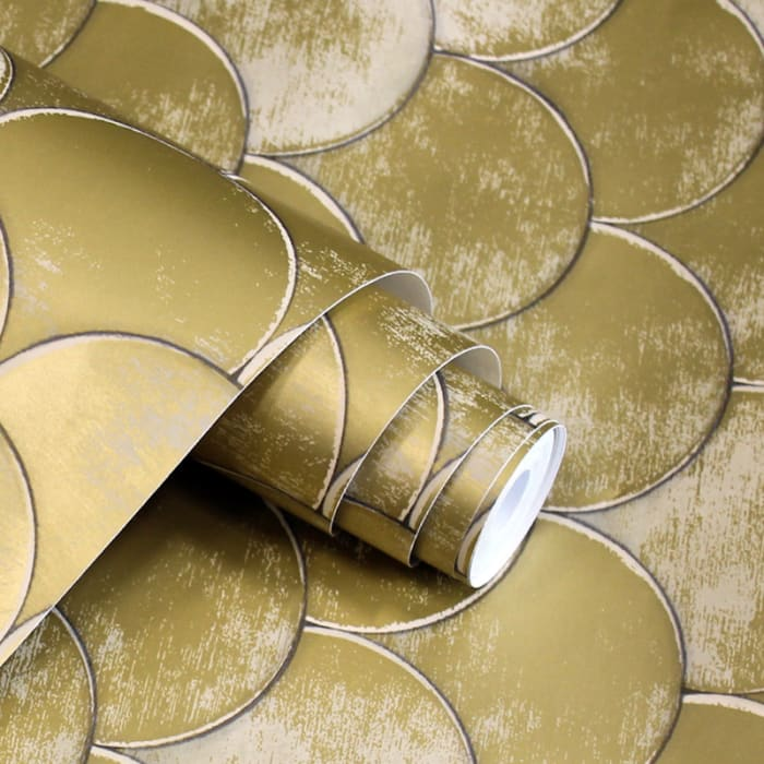Genevieve Brass Metallic Old World Self-Adhesive Removable Wallpaper Double Roll