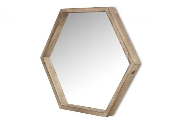 Modern Natural Wood Finish Hexagonal Wall Mirror