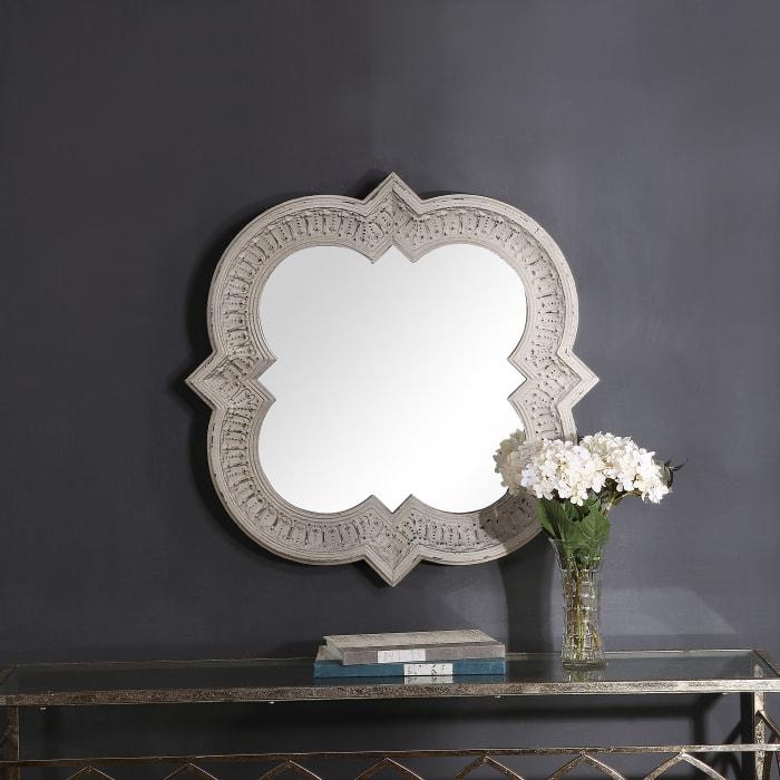 Embossed & Distressed White-Wash Mirror