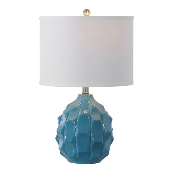 Scalloped Ceramic Table Lamp in Light Blue