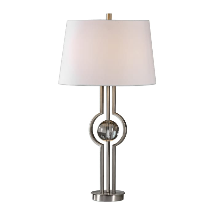 Brushed Nickel Plated Table Lamp with Crystal Sphere
