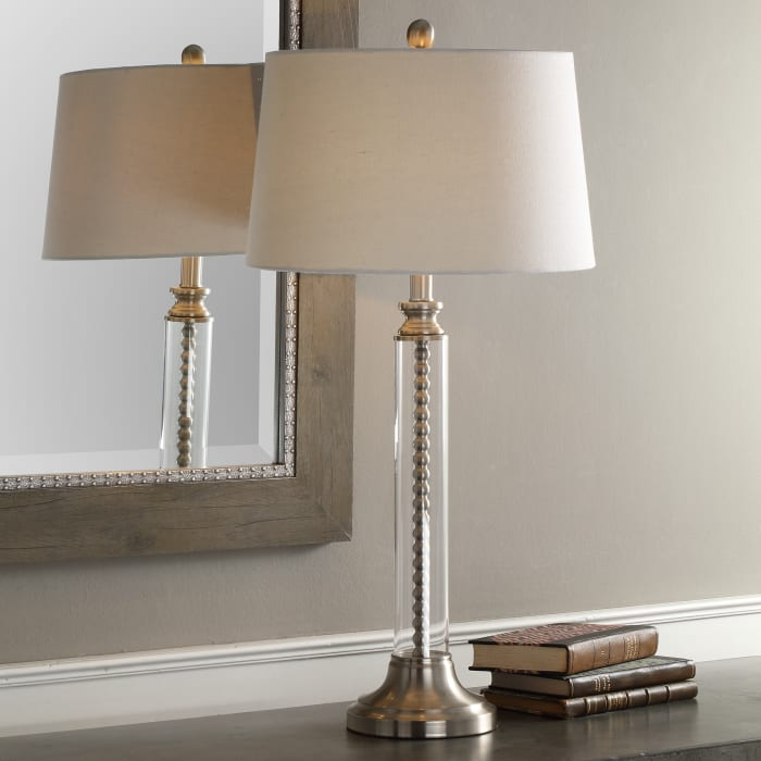 Glass Cylinder Table Lamp with Nickel Beaded Column
