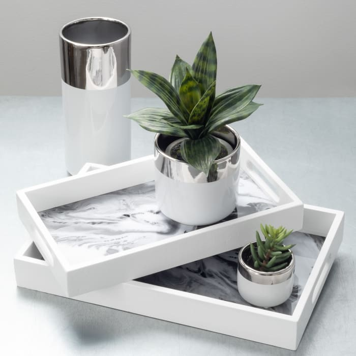 White and Silver Planter Set of 2