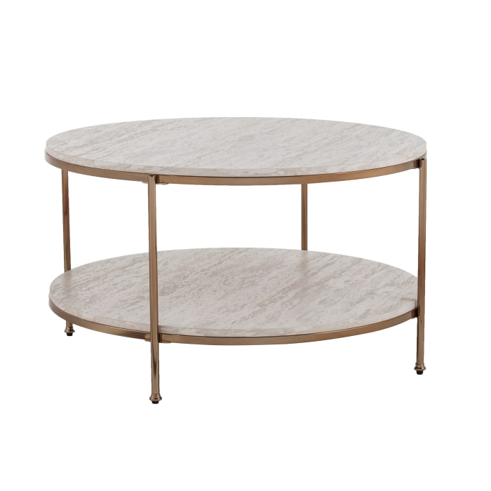 Tyler Gold Round Faux Stone Cocktail Table