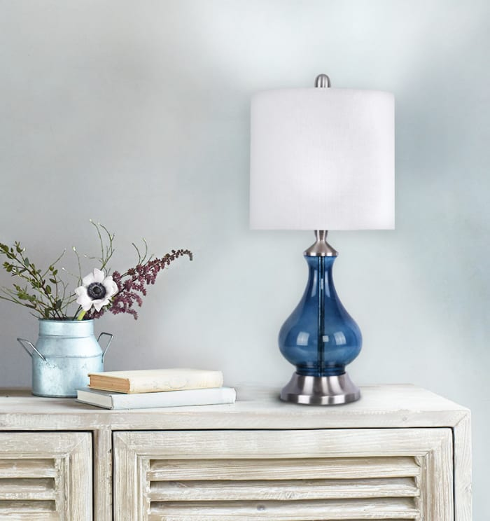 Sapphire Blue Seeded Glass Accent Table Lamp