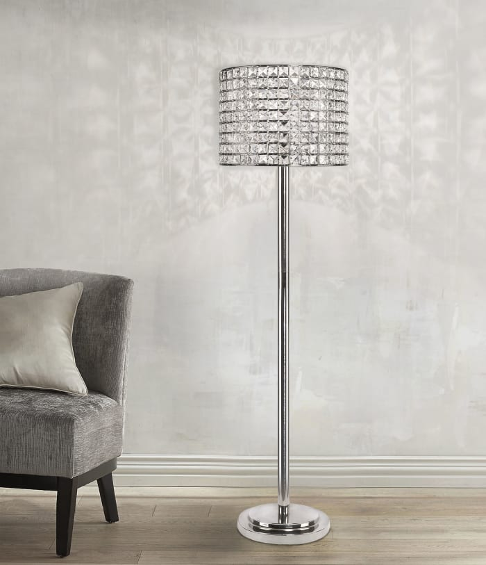 Polished Nickel Modern Glam Floor Lamp