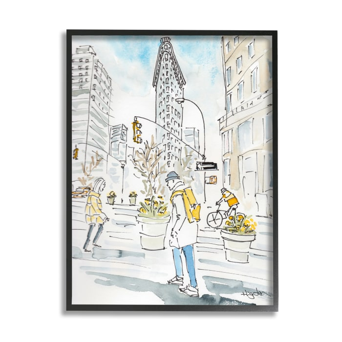 City People Walking Urban Architecture Watercolor Black Framed Giclee Texturized Art
