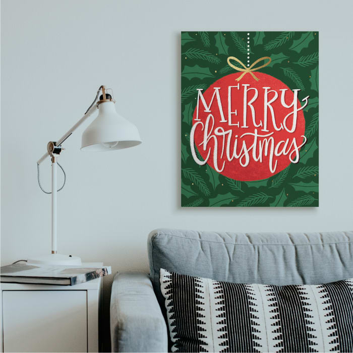 Festive Merry Christmas Text Red Ornament Wall Art
