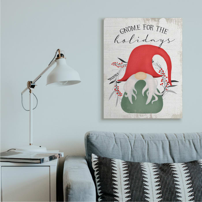 Gnome for the Holidays Winter Garden Pun Wall Art