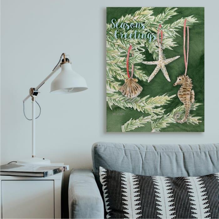 Season's Greetings Nautical Christmas Tree Seashells Wall Art
