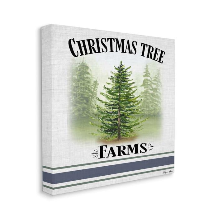 Traditional Christmas Tree Blue Farm Stripe Wall Art
