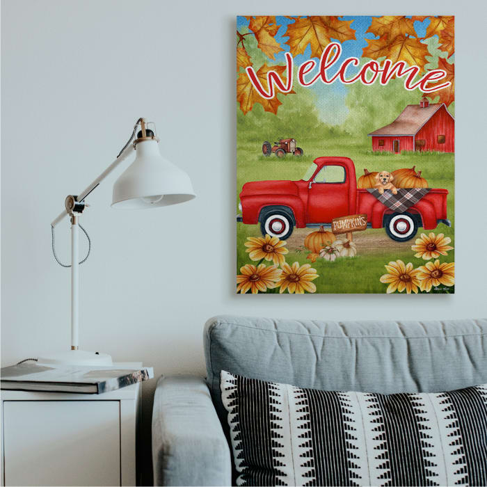 Welcome Red Farm Truck Autumn Leaves Wall Art