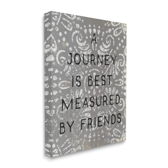 Best Measured by Friends Phrase Distressed Boho Pattern Stretched Canvas Wall Art by Daphne Polselli 16 x 20