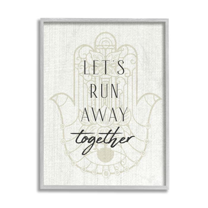 Runaway Together Quote Moroccan Khmissa Inspired Pattern Gray  Oversized Framed Giclee Texturized Art by Daphne Polselli 16 x 20