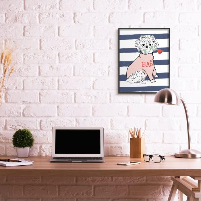 Romantic Bichon Puppy Pink Bae Sweater Black Framed Giclee Texturized Art