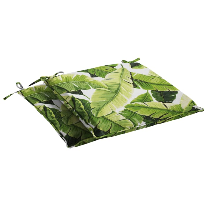 Palm Frond Corded Outdoor Set of 2 Chair Pads