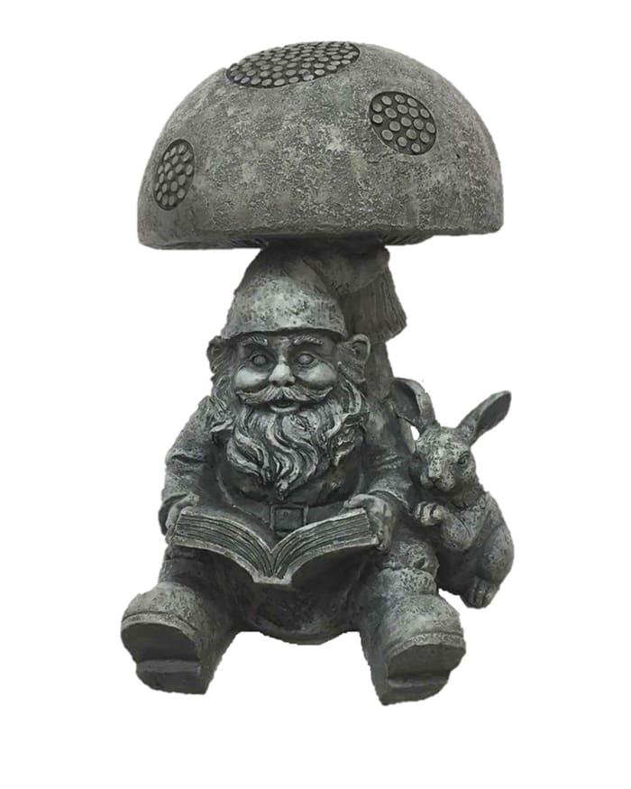 Gnome Under Mushroom Outdoor Sculpture