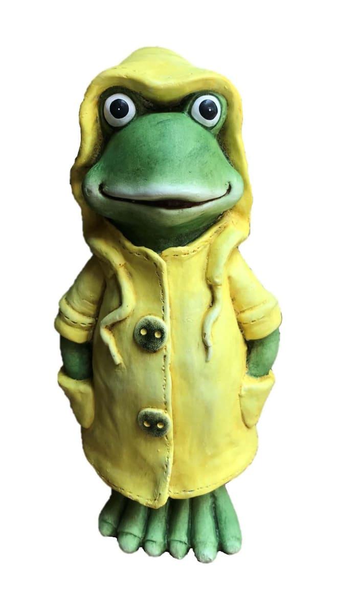 Yellow Raincaot Frog Outdoor Sculpture