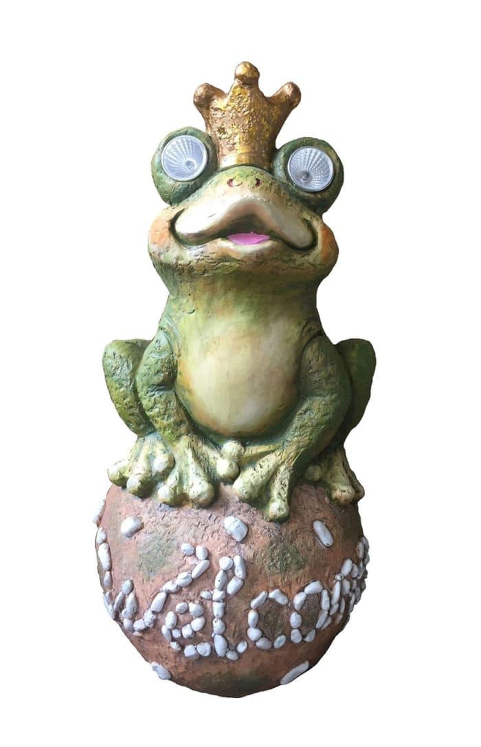 Solar Frog King Outdoor Sculpture